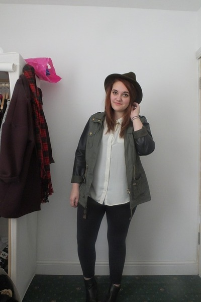 black Primark boots - army green Topshop hat - army green Primark jacket