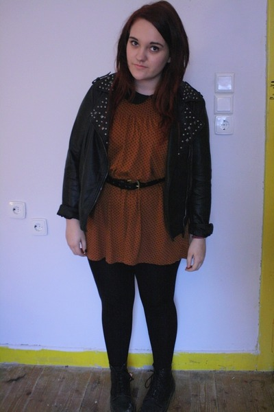 black doc martens boots - dark brown Topshop dress - black Primark jacket