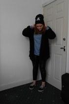 black Primark hat - black Primark leggings - turquoise blue H&M shirt