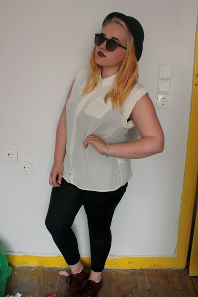 black H&M hat - black Primark leggings - cream Primark shirt