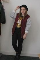 black Primark boots - black bowler H&M hat - crimson Ebay jacket