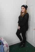 black Primark boots - black Primark hat - black Topshop leggings