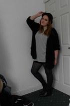 black Primark boots - heather gray Primark dress - black H&M hat