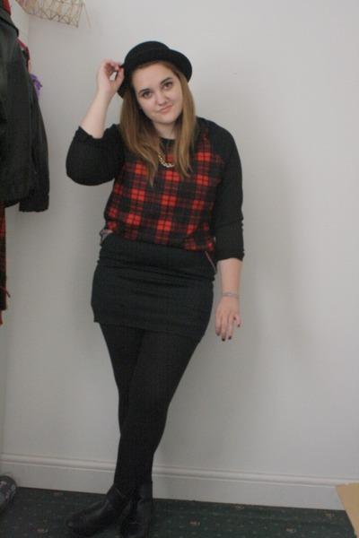 black Primark boots - black H&M hat - black H&M skirt - crimson Primark jumper