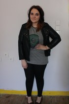 black Primark jacket - black Topshop leggings - heather gray DIY top