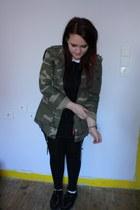 black Primark dress - army green Primark jacket - cream Topshop socks