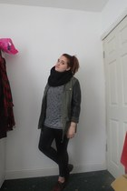 army green Primark jacket - black Primark leggings - heather gray new look shirt