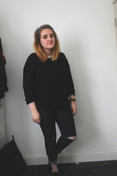 black Ebay shoes - navy Primark jeans - white Vero Moda shirt