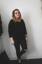 black Ebay shoes - navy Primark jeans - white Vero Moda shirt