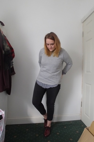 black next jeans - black new look shirt - silver H&M jumper - crimson H&M flats
