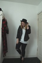 black Topshop hat - navy Primark jeans - black Primark jacket - white H&M shirt