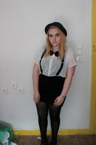black H&M hat - white Vero Moda shirt - black H&M skirt - crimson H&M flats