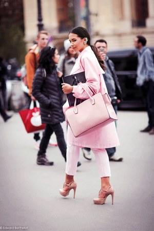coat - earrings - heels