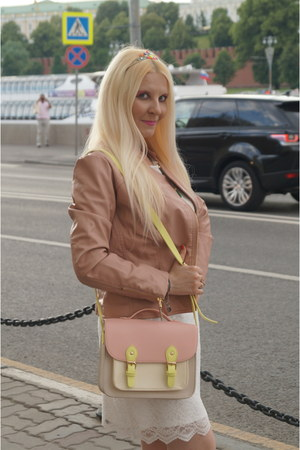 pink Mademoiselle R bag - cream La Redoute dress - light pink La Redoute jacket