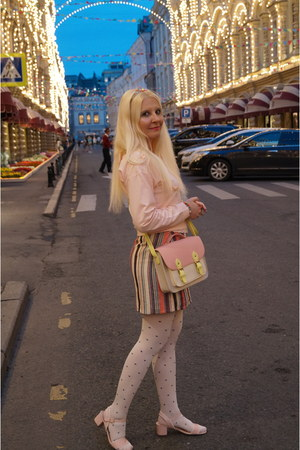 hot pink Soft Grey skirt - white oodji tights - light yellow MademoiselleR bag