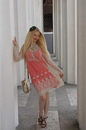 gold Soft Grey bag - brown Soft Grey shoes - salmon La Redoute dress