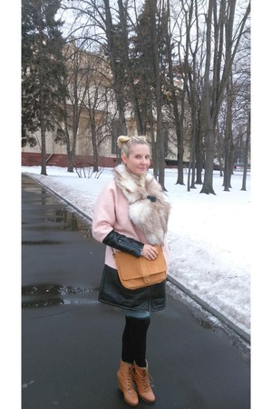 tawny Soft Grey boots - pink Victorias Secret coat - tawny Soft Grey bag