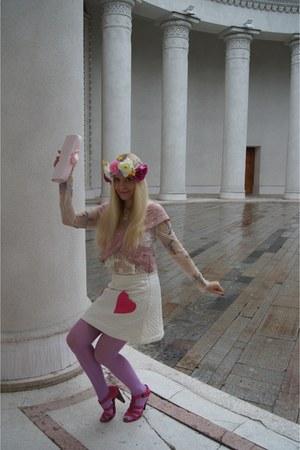 white asos skirt - bubble gum ASOS Premium blouse