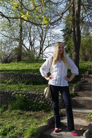 gold Soft Grey bag - hot pink La Redoute shoes - blue Vila jeans