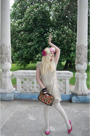 bubble gum La Redoute shoes - cream La Redoute dress - white asos tights