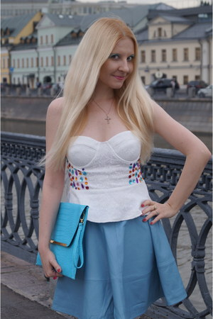 sky blue leather skirt asos skirt - turquoise blue asos bag - white Reverse top