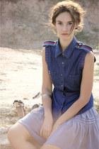 navy vest - silver skirt