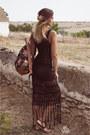 Black-crochet-dress-black-floral-backpack-newdress-bag-pink-newdress-watch