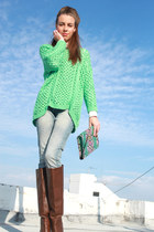 aquamarine Zara sweater - brown Stradivarius boots - sky blue Mango jeans