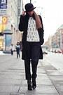 Silver-coccinelle-bag-black-kenzo-pants