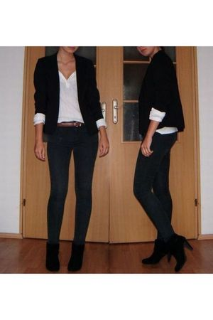 black second-hand blazer - white second-hand blouse - brown second-hand belt - b