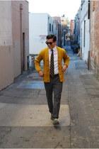 mustard letterman vintage cardigan - green oxfords Steve Madden shoes