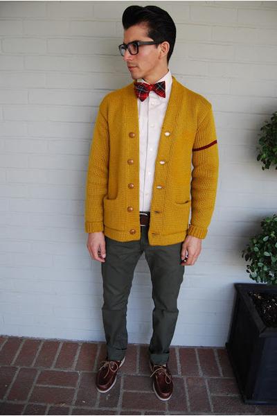 mustard vintage cardigan - crimson Bass shoes - white Express shirt