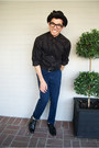 Black-oxfords-steve-madden-shoes-urban-outfitters-hat-express-shirt