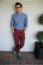 Green-oxford-steve-madden-shoes-sky-blue-denim-j-crew-shirt