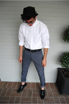 black pork pie Urban Outfitters hat - black oxford Steve Madden shoes