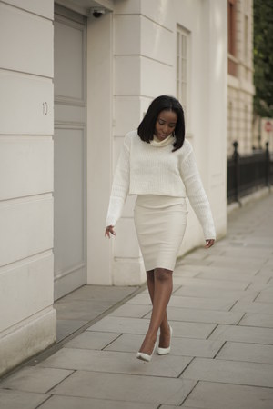 white Crop Jumper jumper - cream leather skirt skirt