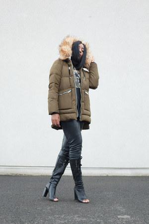 dark khaki Zara jacket - black Topshop boots - black Adidas t-shirt