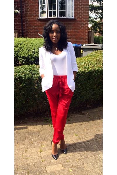 white white blazer Zara blazer - baggy pants H&M pants