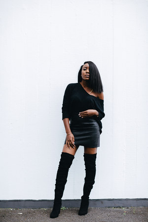 black asos boots - black American Apparel skirt - black H&M top