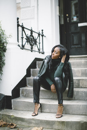 dark green Zara jacket - black asos leggings - dark green pull&bear jumper