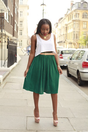 ivory crop top American Apparel top - green maxi skirt American Apparel skirt