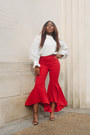 Red-zara-pants-cream-zara-top-black-stuart-weitzman-sandals