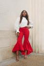 Red-zara-pants-cream-zara-top-black-stuart-weitzman-sandals
