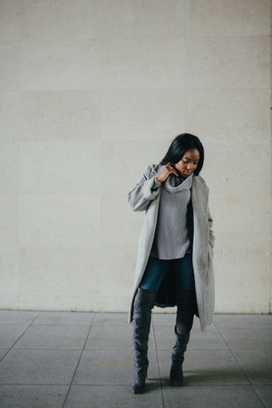 gray Schuh boots - heather gray Zara coat - navy Zara jeans