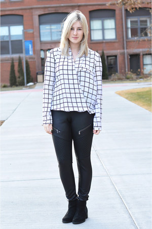 black leather Express leggings - white Forever 21 blouse