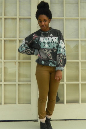 charcoal gray Goodwill sweater - camel TJ Maxx jeans