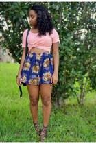 light pink Goodwill top - black cotton on bag - blue OASAP shorts