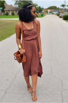 brown maxi cotton on dress - tawny random bag - brown Rue 21 sandals