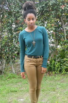 teal Goodwill sweater - camel TJ Maxx pants - black Goodwill belt