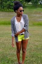 yellow neon Target shorts - ivory Target top - black leopard Goodwill cardigan